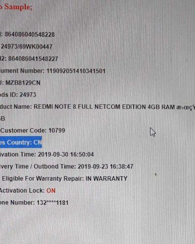 XIAOMI – Kontrola Prodejní KÓD / Telefonní číslo / Stav Zámku IMEI