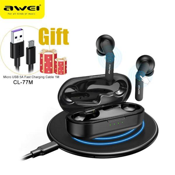 Awei T10C TWS bezdrátová Bluetooth 5.0 sluchátka do uší