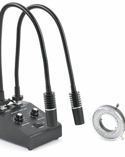 Mikroskop Illuminator Lamp 3in1 6W 6500K LED +60 LED kruhové světlo