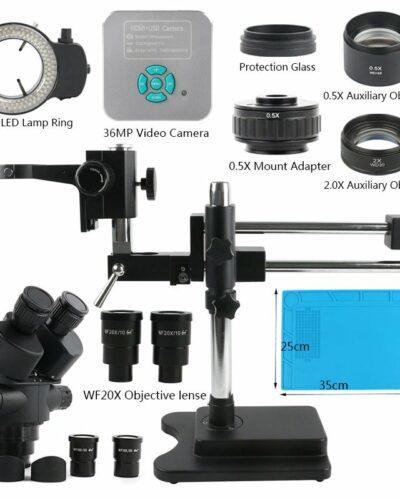 3.5-90X Trinocular Stereo Microscope Set +36MP 4K UHD HDMI USB Camera