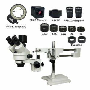 Mikroskop 2.1-90X Trinokulární Stereo Mikroskop Kamera Set +38MP 2K HDMI USB Kamera (White)